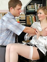 Cutie in white stockings with lacy garter belt getting nasty in the office