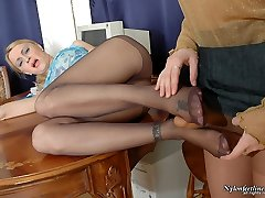 Sizzling hot chick fervently slapping horny babe in control top tights
