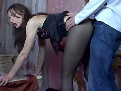 Cock-hungry slut getting shafted through her black sheer-to-waist pantyhose