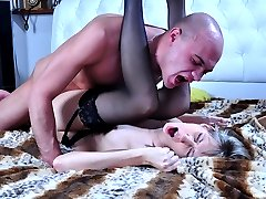 Sexy chick in blue French lingerie and black stockings riding cock after 69