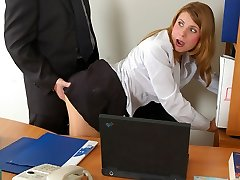 Horny assistant in soft silky hose rubbing her clit in wild fucking action