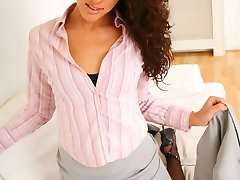 Nicola R looks stunning in her grey secretary outfit and black stockings and suspenders