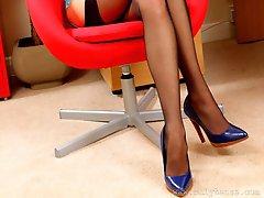 Gorgeous secretary dress in black sheer stockings