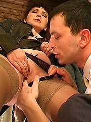 Mature businesswoman getting guy�s cock out in the open longing for fucking