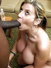Promiscuous MILF wifey Sara Jay flashes off her big mounds and goes black for the nth time