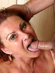 Round grandma Blue Iris taking a phat dick in her hatch and gets covered with fresh goo