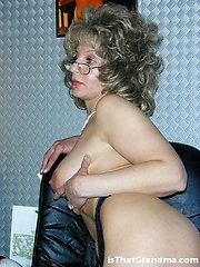 Steaming blonde grandma getting super-naughty in the office