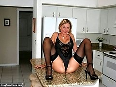 16 Pics- Hot little milf wife in lingerie gets naughty
