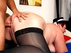 Angelika is a naughty old granny still sucking on cock!