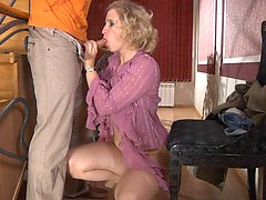 Lewd mature blonde munching on fresh meat and getting dicked on the stairs