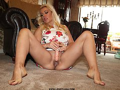 After loving the feeling of her sexy new carpet rubbing against her bare feet and shaved pussy, Leggy Lana just had to toy herself on it