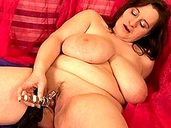 Big titted British housewife shows off great rack and loves her dildo