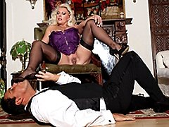 Sexy mistress Leggy Lana covers her butlers cock with her sexy nylons, then enjoys the creamy silk taste as she sucks his big erect cock
