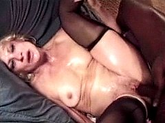 Blonde granny in stockings getting wet and hard sex pounding thrill