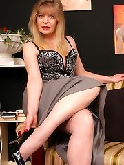 Angel in grey barefeet stocking