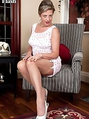 Lou, looking ladylike in her dainty summer frock and sheer ff nylons!