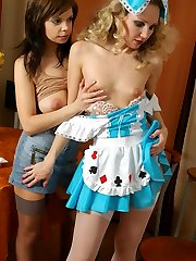 Heated babe sweet talking a white-stockinged French maid into lezzie love