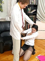 Steaming hot secretary getting her pantyhose ripped while poking like hell