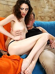 Frisky dame rubs her nyloned feet against each other before rock hard doggie
