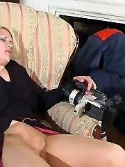 Platinum-blonde filming her pantyhosed vag before seducing worker into fucking