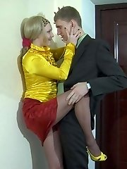 Tempting office girl getting her control top pantyhose pushed down for a pummel