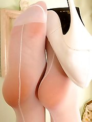 Angel in white colored seamed stockings