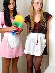 Two French maids in sheer-to-waist pantyhose getting down to hot dildo fucking