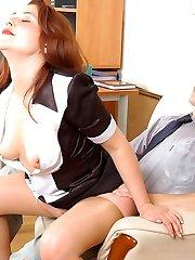 Ginger-haired secretary in sheer-to-midbody pantyhose worshipping throbbing cock