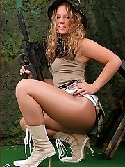 Celina as military girl in glistening pantyhose and boots