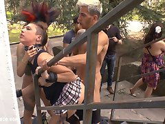 Camil Core is humiliated and shamed on the streets of Madrid by gorgeous Dom Satrina. This dirty slut is drenched in a public fountain before getting pissed on and fucked outdoors in front of a wild crowd. Later she is tied up in rope bondage for some corporal punishment and a deep anal fucking. She then takes it in every hole for a hard double penetration.