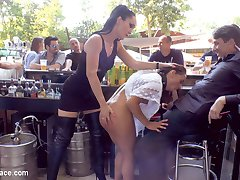 Nomi Melone has no manners! This perky whore doesn't have a single clue on how to serve her masters in public. She is punished by having her sexy panties stripped off her tight body and pulled down past her high heels, then stuffed down her slut throat. Even that wasn't enough so she was handcuffed and left in public, for her pussy to be shown to all. Legendary Steve Holmes then puts a dog collar and leash on this bitch and has her crawl on her hands and knees through the dirty streets all the way to an outdoor bar! This party slut then takes all the cocks while serving the horny patrons. She drew such a huge crowd the cops were called and shut it down! Steve drags her back to his place with some friends and fucks every hole while she performs boot service. Every hole gets fucked on this tiny whore and covered in cum.