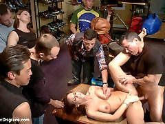 Fucked and disgraced in public! All in a days work for a professional submissive. Syren De Mer takes an ass pounding like a good sub should: Hard and dirty in a room full of people! All holes filled, Audience takes turns fisting.