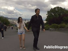 18 year old Anina Silk has Steve Holmes very excited. Anina's firm breasts, perky ass and tight pink pussy make her ripe for Public Disgrace. Steve revels in Anina's embarrassment as he cuts away her clothing in a public park. Anina is shamed by several people who yell