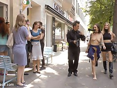 Standing on a corner in downtown Berlin, Coco Chanal throws herself at pedestrians walking by. Begging for someone to be the first to buy her cheap fuck holes. Luckily Mona Wales comes along to take this whore's porno virginity. Instantly Mona strips Coco naked while this overeager slut begs to have all her holes used and her ass filled with cum. What else do you do with a cum hungry fuck toy but dress them up in the sluttiest latex outfit you can find. After Mona shoves a huge but plug up Coco's ass, she makes Coco stand in the window of the fetish shop as a real life manikin. After demonstrating her submission, Mona stuffs all of Coco's holes full with throbbing cock. Coco takes one dick in her cunt and another in her stretched asshole. Watch these two cocks thrust and pound Coco stupid. Mona finishes Coco off by prying her mouth open as load after hot sticky load is squirted down her throat. Another disgusting public disgrace fantasy fulfilled.