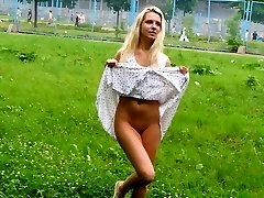 Wondrous  blondie showcases off on a soccer pitch