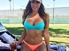 Hot babes flaunt their swimsuit bodies outdoors