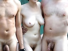 Real amateur nudists in public