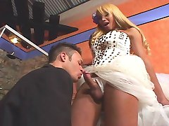 Hot tranny bride celebrating her fiancé with stiff dip stick in her panties