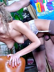 Upskirt French maid in shiny nylons stops vacuuming to service a needy cock