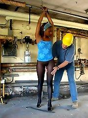 Black girl in seamless pantyhose tied by pervert man