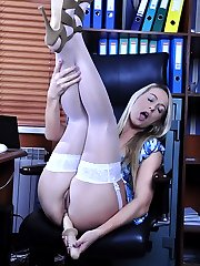 Sweet blonde secretary spread-eagles and bends over for solo nylon anal sex