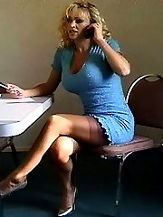 feet, nylons and playing with herself with both hands. dress comes off, but nylons stay on.