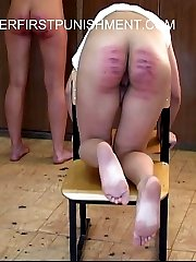 Filthy russian schoolgirl is severely caned in the classroom