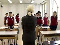 4 tearful school girls get their naked asses blasted with a wooden paddle