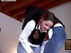 School teen spanked hard over her skin tight jeans - full round ass bent over in pain