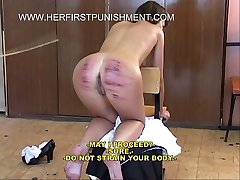 Cute russian schoolgirls brutally caned in the classroom