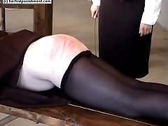 Hot blistered ass cheeks from severe bare bottom caning
