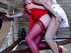 Clad in red sissy slut opens up his mouth and butt for a strap-on assault
