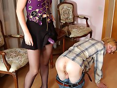 Awesome babe turning a guy into her humble sex toy for strap-on experiments
