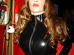 Check out Strapon Jane in a full on leather catsuit
